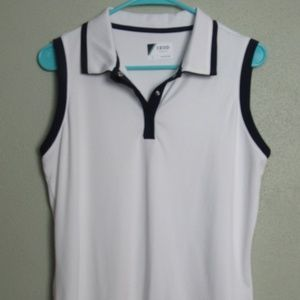 Izod Woman's White Sleeveless Golf Shirt Size Lrg